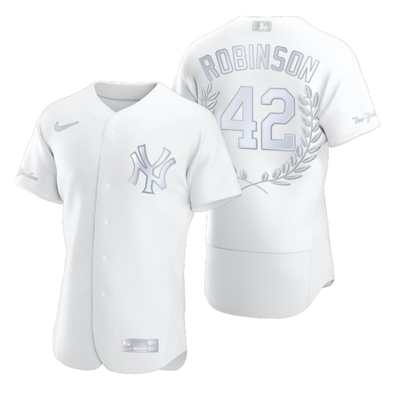 Yankees 42 Jackie Robinson White Nike Flexbase Fashion Jersey