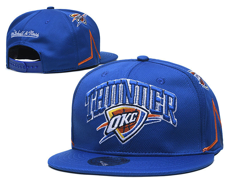 Thunder Team Logo Blue Mitchell & Ness Adjustable Hat TX