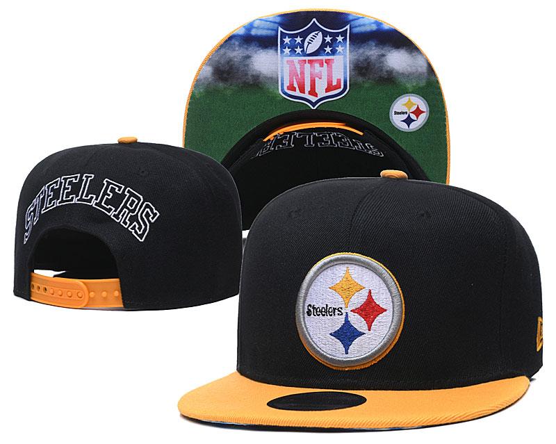 Steelers Team Logo Black Yellow Adjustable Hat GS