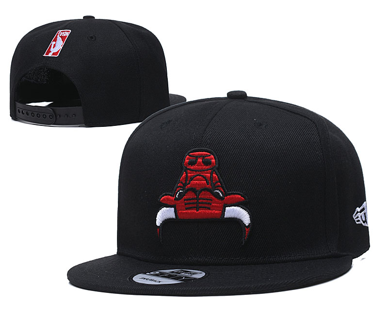 Bulls Team Red Logo Black Adjustable Hat TX