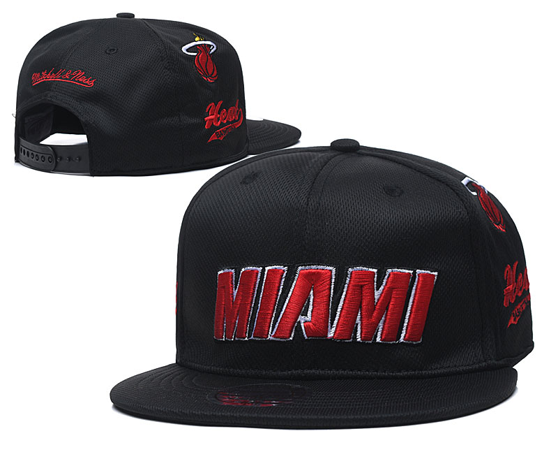 Heat Team Logo Black Mitchell & Ness Adjustable Hat TX