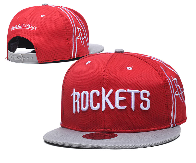 Rockets Team Logo Red Mitchell & Ness Adjustable Hat TX