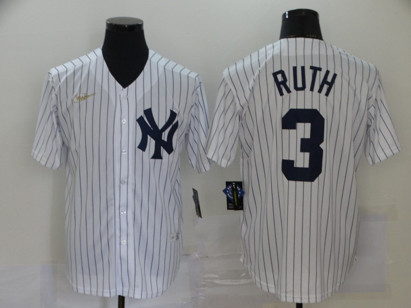 Yankees 3 Babe Ruth White Nike Cool Base Jersey