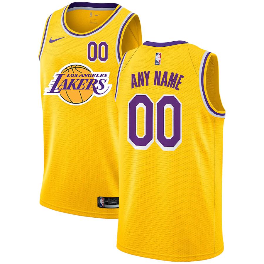 Lakers Customized Yellow Nike City Edition Number Swingman Jersey