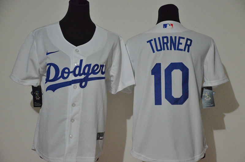Dodgers 10 Justin Turner White Youth 2020 Nike Cool Base Jersey
