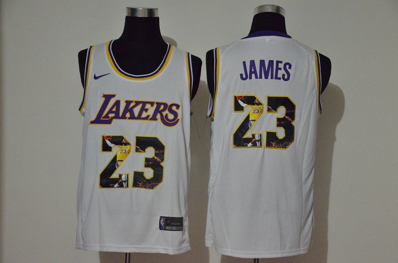 Lakers 23 Lebron James White Player Name Nike Swingman Fashion Jersey