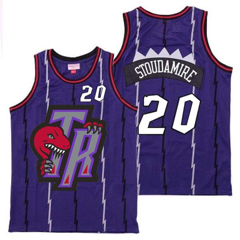 Raptors 20 Damon Stoudamire Purple Big Gray TR Logo Retro Jersey