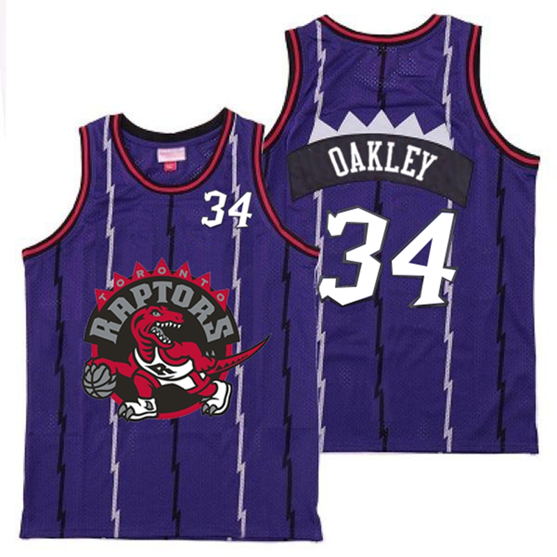 Raptors 34 Charles Oakley Purple Big Gray Red Logo Retro Jersey