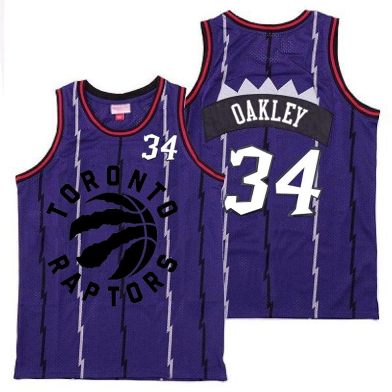 Raptors 34 Charles Oakley Purple Retro Jersey