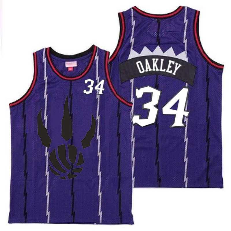 Raptors 34 Charles Oakley Purple Throwback Jersey