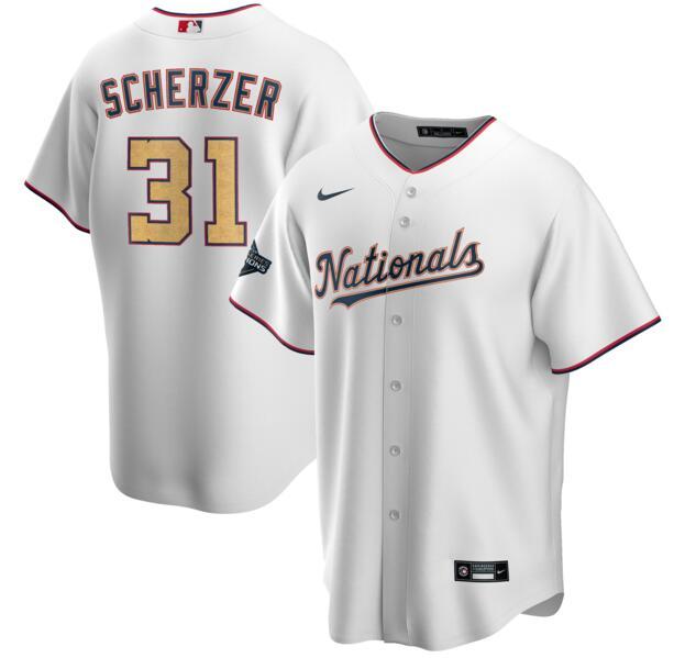 Nationals 31 Max Scherzer White Gold Nike 2020 Gold Program Cool Base Jersey