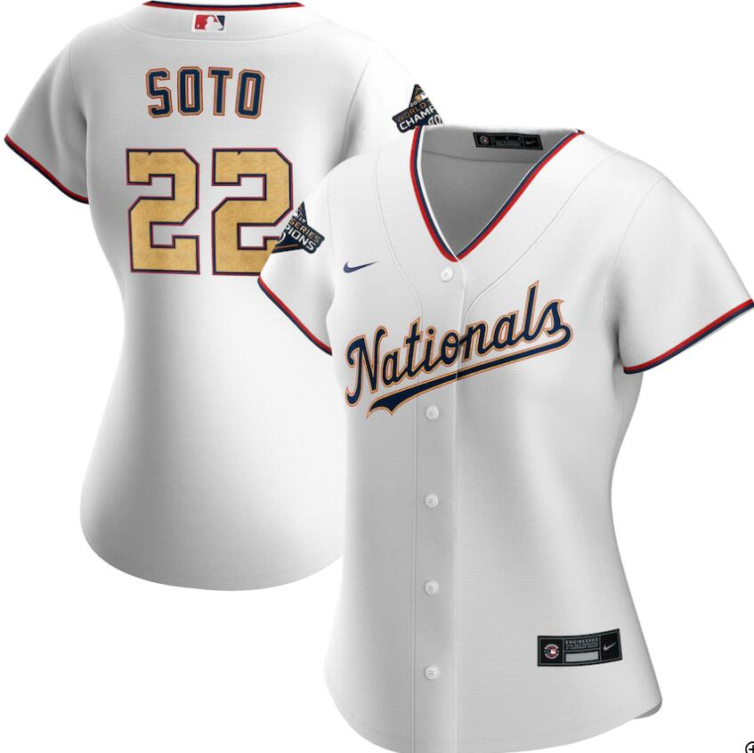 Nationals 22 Juan Soto White Gold Women Nike 2020 Gold Program Cool Base Jersey