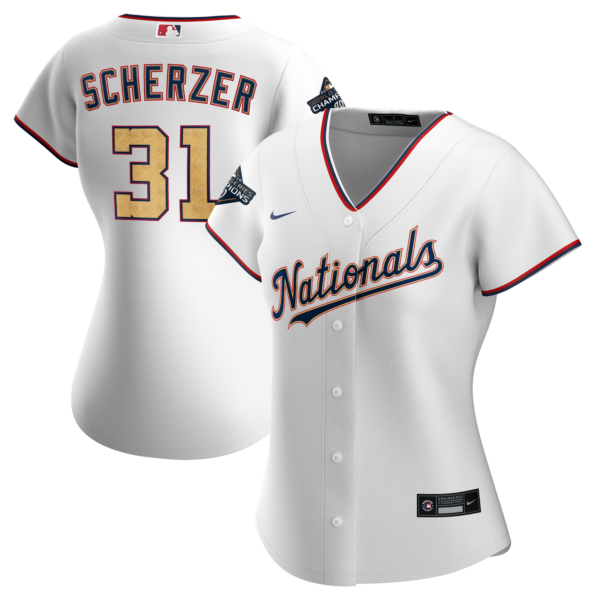 Nationals 31 Max Scherzer White Gold Women Nike 2020 Gold Program Cool Base Jersey