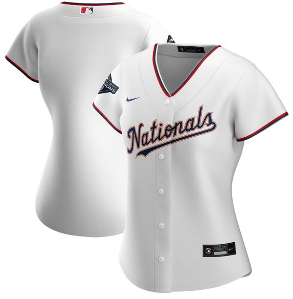 Nationals Blank White Gold Women Nike 2020 Gold Program Cool Base Jersey