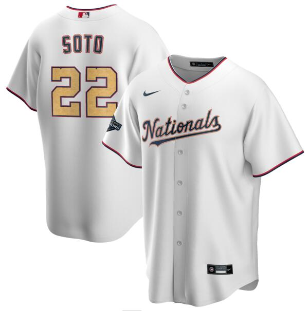 Nationals 22 Juan Soto White Gold Youth Nike 2020 Gold Program Cool Base Jersey