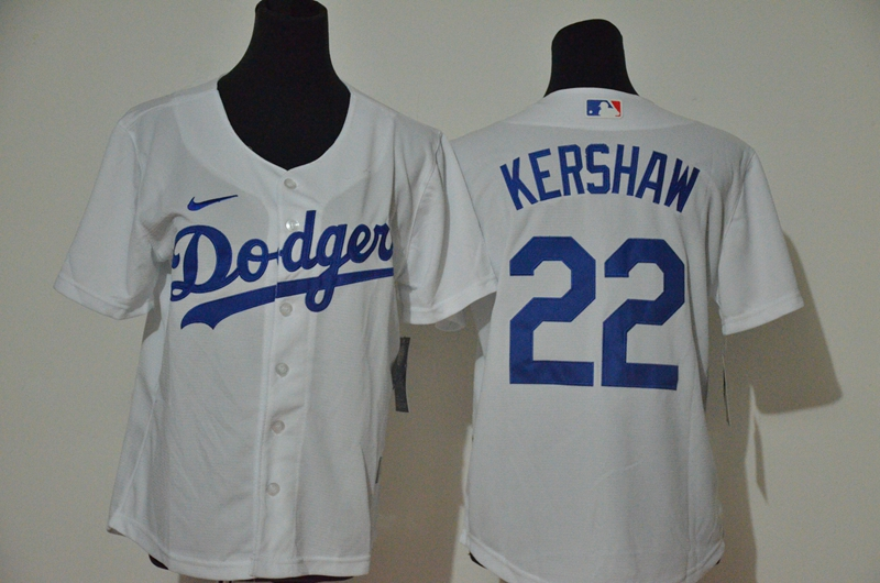 Dodgers 22 Clayton Kershaw White Youth Nike Cool Base Jersey
