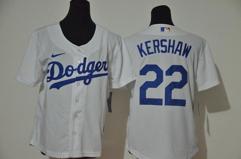 Dodgers 22 Clayton Kershaw White Youth Nike Cool Base Jersey