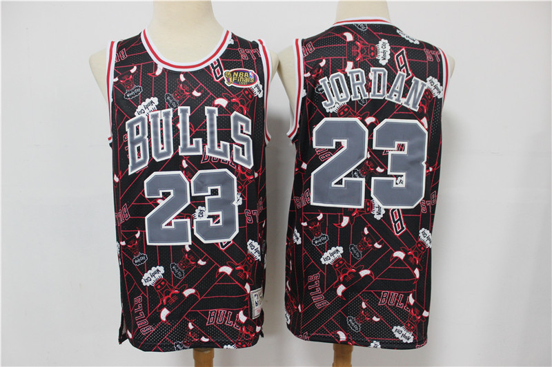 Bulls 23 Michael Jordan Black Red Tear Up Pack Hardwood Classics NBA Finals Patch Jersey