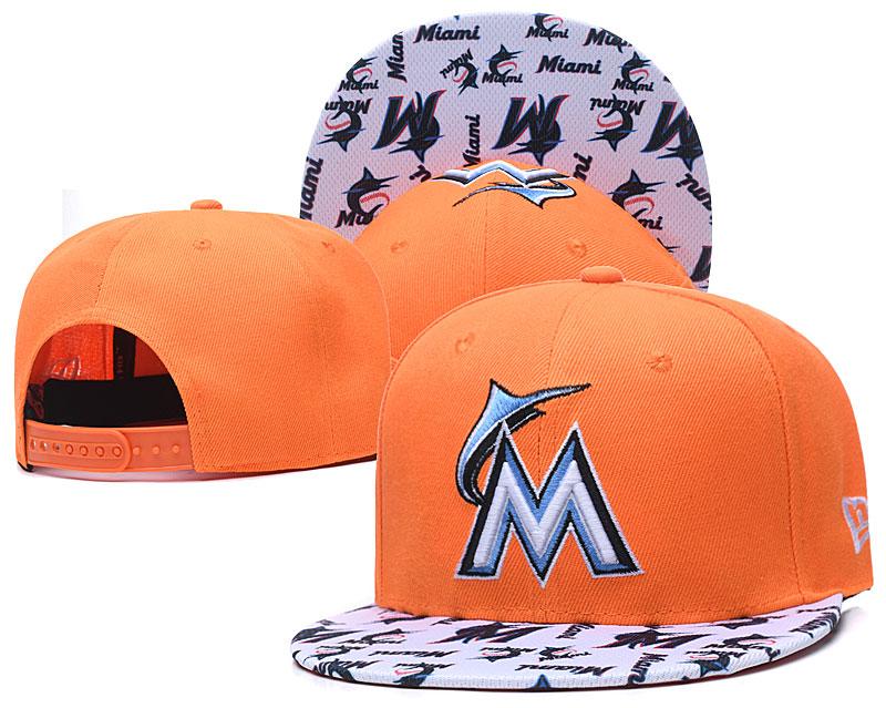 Marlins Team Logo Orange White Adjustable Hat TX