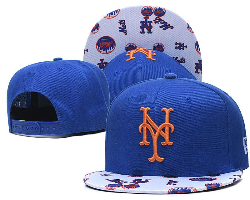 Mets Team Logo Royal White Adjustable Hat TX