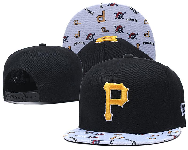 Pirates Team Logo Black White Adjustable Hat TX