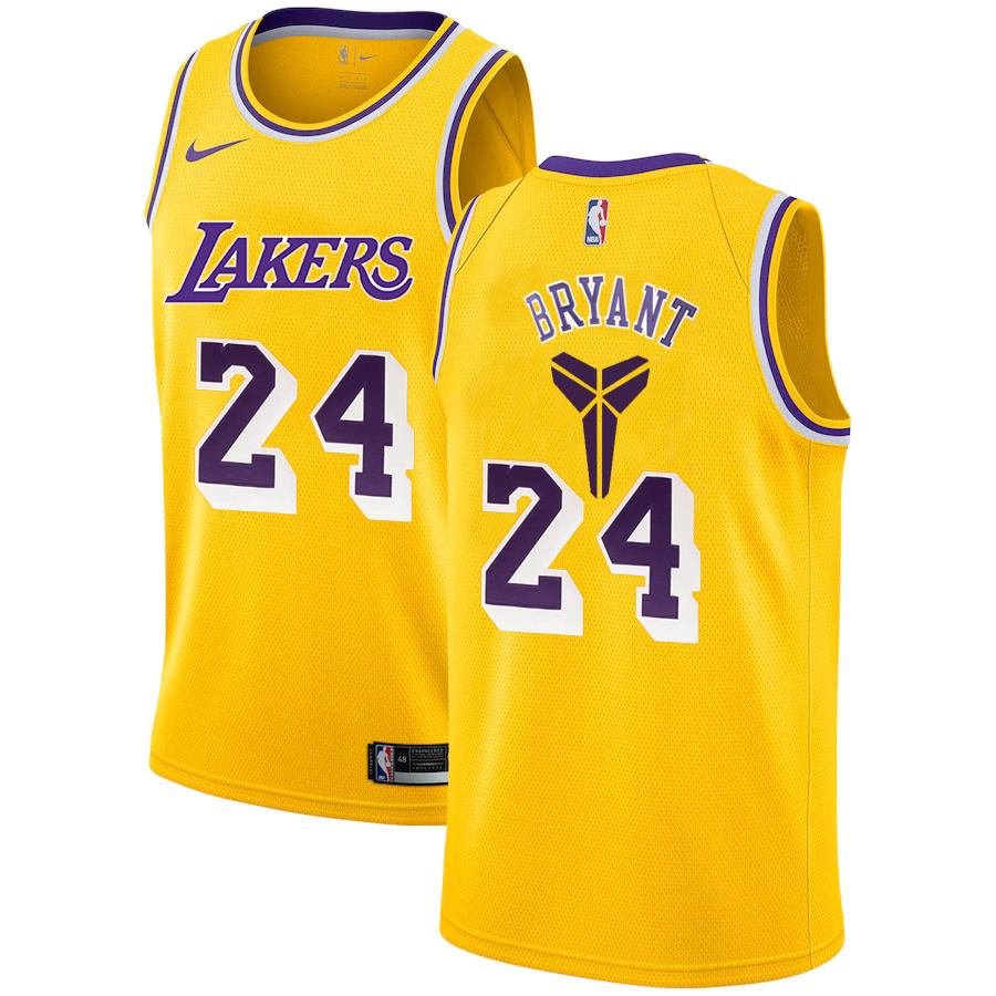 Lakers 24 Kobe Bryant Yellow Nike Swingman Jersey