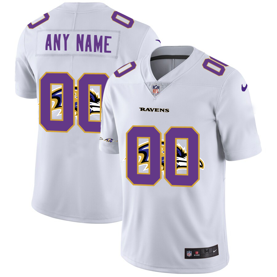 Nike Ravens Customized White Team Big Logo Vapor Untouchable Limited Jersey