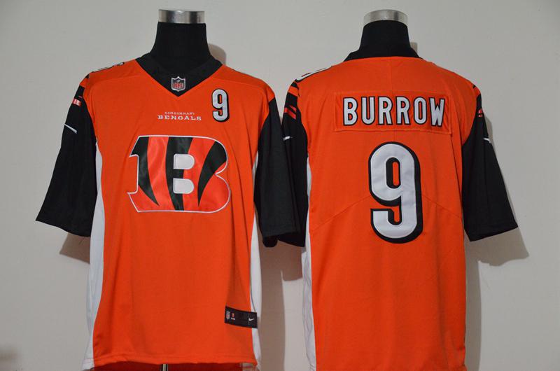 Nike Bengals 9 Joe Burrow Orange Team Big Logo Number Vapor Untouchable Limited Jersey