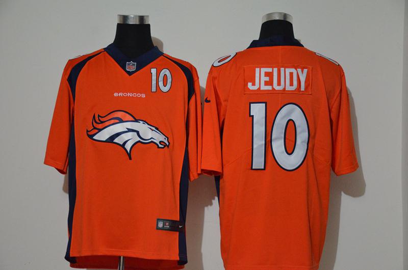 Nike Broncos 10 Jerry Jeudy Orange Team Big Logo Number Vapor Untouchable Limited Jersey