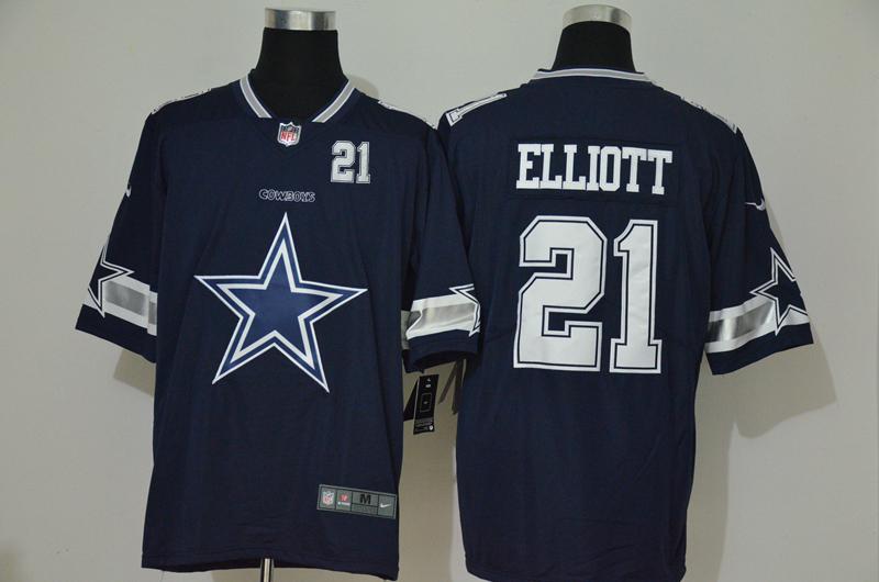 Nike Cowboys 21 Ezekiel Elliott Navy Team Big Logo Number Vapor Untouchable Limited Jersey