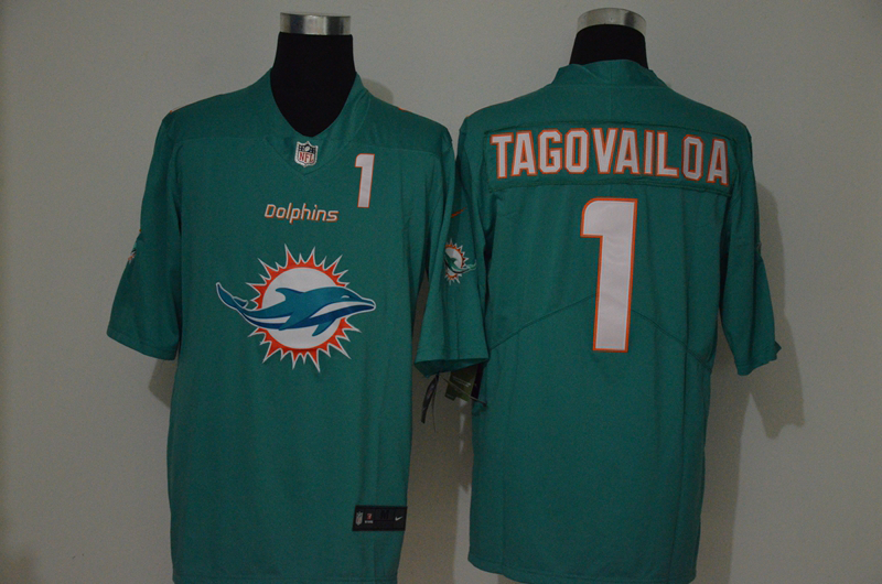 Nike Dolphins 1 Tua Tagovailoa Aqua Team Big Logo Number Vapor Untouchable Limited Jersey