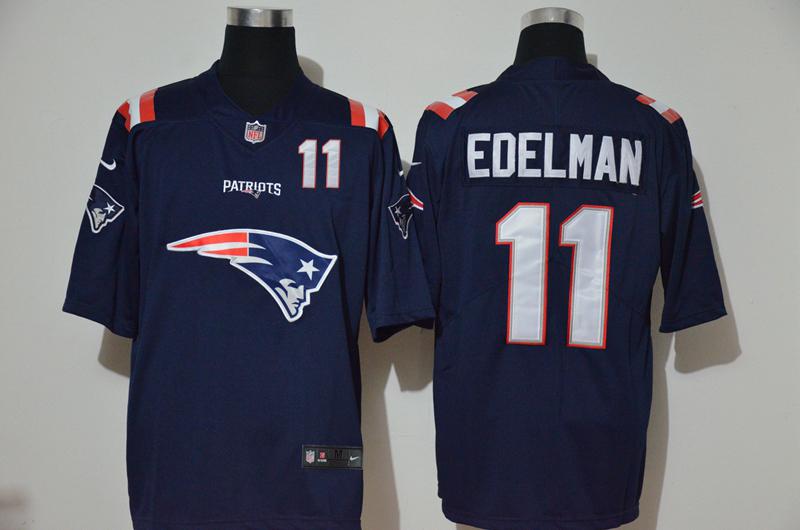 Nike Patriots 11 Julian Edelman Navy Team Big Logo Number Vapor Untouchable Limited Jersey