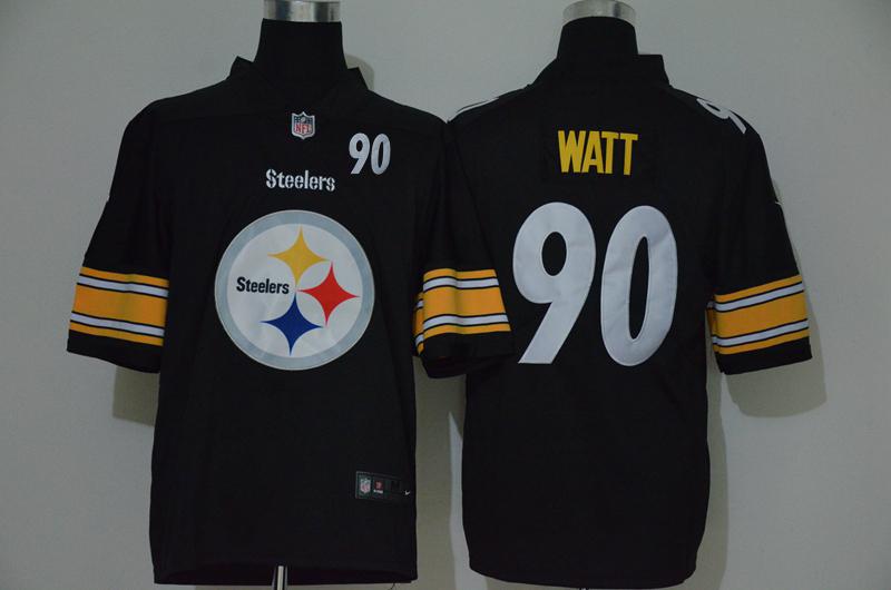 Nike Steelers 90 T.J. Watt Black Team Big Logo Number Vapor Untouchable Limited Jersey