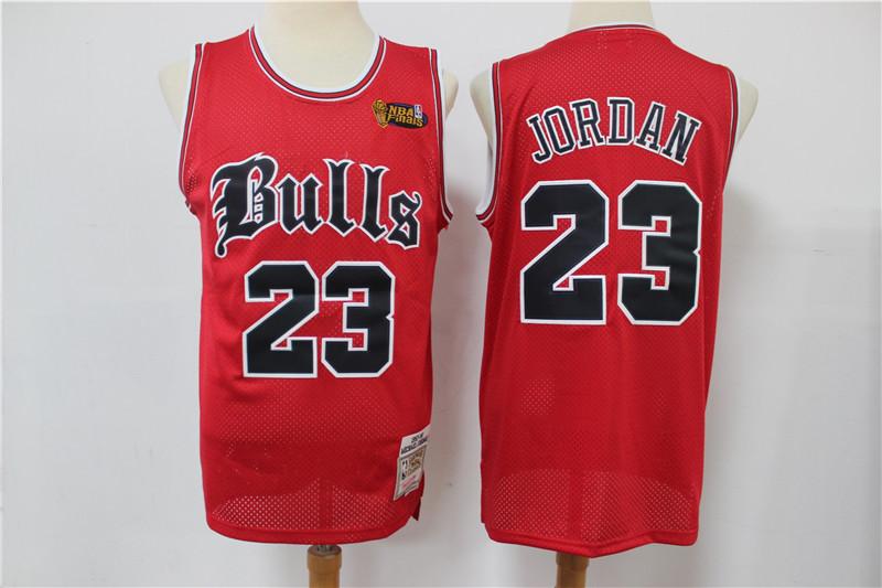 Bulls 23 Michael Jordan Red NBA Finals Patch Hardwood Classics Jersey
