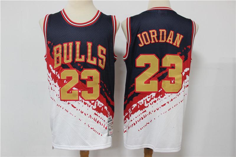 Bulls 23 Michael Jordan White Independence Day Hardwood Classics Jersey
