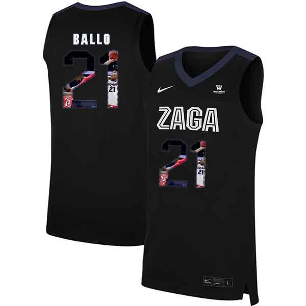 Gonzaga Bulldogs 21 Oumar Ballo Black Fashion College Basketball Jersey