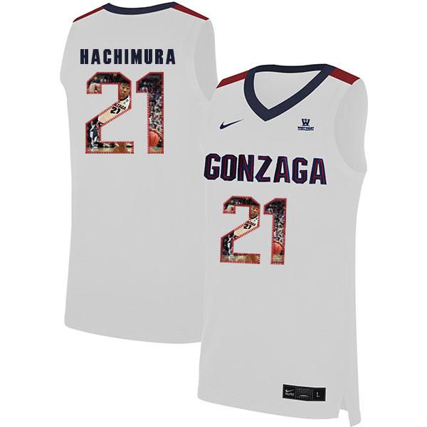 Gonzaga Bulldogs 21 Rui Hachimura White Fashion College Basketball Jersey