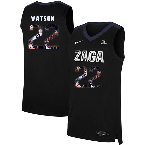 Gonzaga Bulldogs 22 Anton Watson Black Fashion College Basketball Jersey
