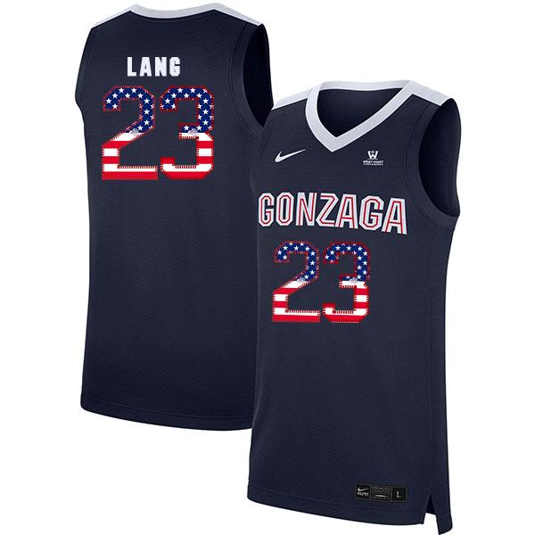 Gonzaga Bulldogs 23 Matthew Lang Navy USA Flag College Basketball Jersey