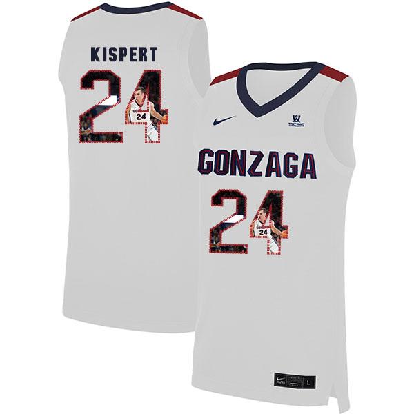 Gonzaga Bulldogs 24 Corey Kispert White Fashion College Basketball Jersey