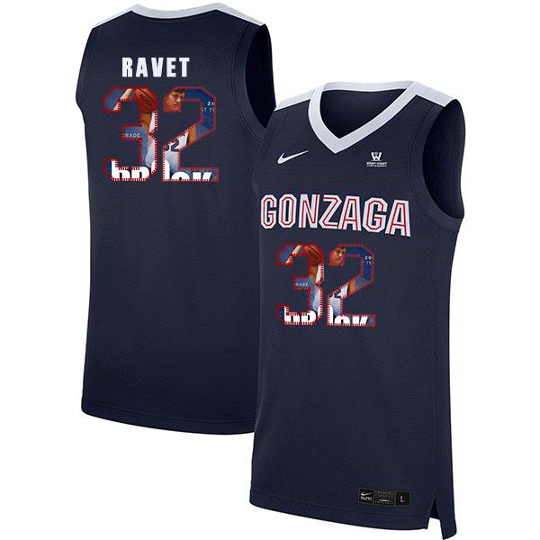 Gonzaga Bulldogs 32 Brock Ravet Navy Fashion College Basketball Jersey