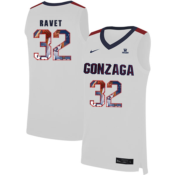 Gonzaga Bulldogs 32 Brock Ravet White Fashion College Basketball Jersey