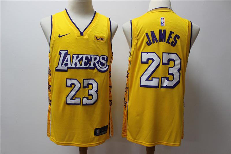 Lakers 23 Lebron James Yellow 2019 20 Nike City Edition Swingman Jersey