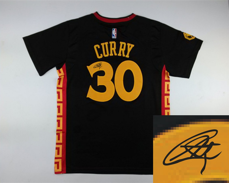 Warriors 30 Curry Black Chinese New Year Short Sleeve Signature Edition Jerseys