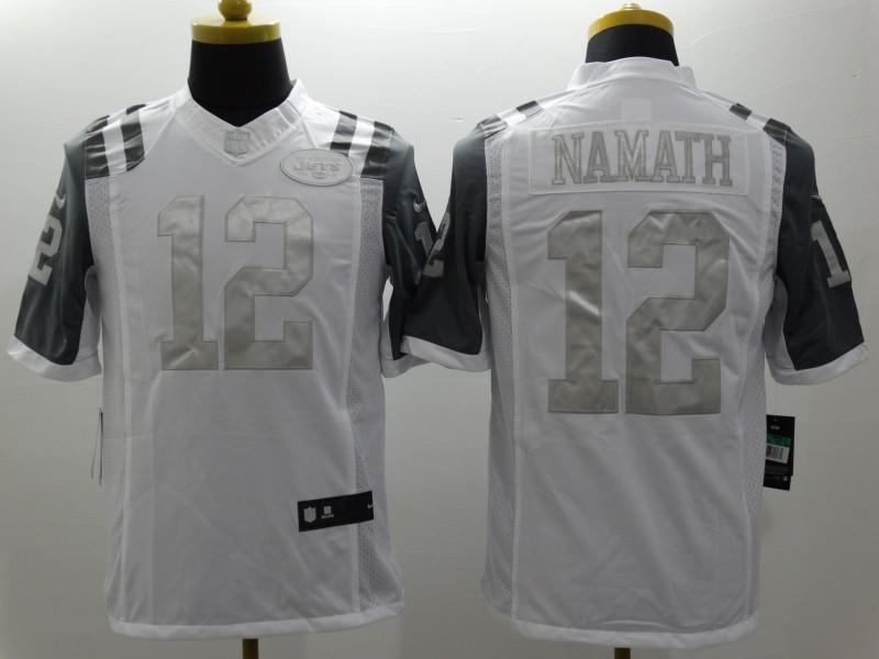 Nike Jets 12 Namath White Platinum Limited Jersey
