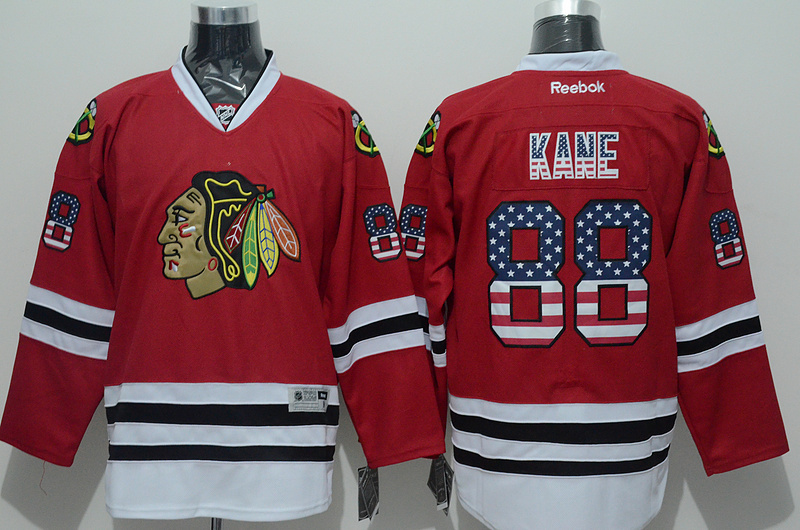 Blackhawks 88 Kane Red US Flag Reebok Jersey
