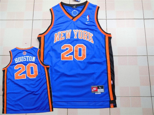 Knicks 20 Allan Houston Blue Throwback Jersey