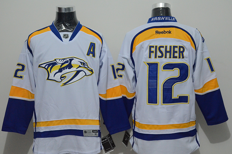 Predators 12 Fisher White Reebok Jersey