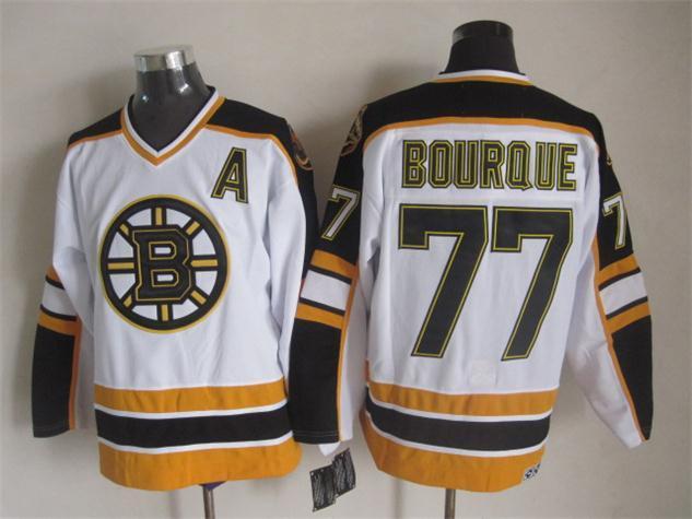 Bruins 77 Bourque White A Patch CCM Jersey