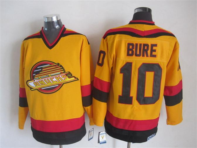 Canucks 10 Bure Yellow Jersey
